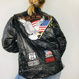 Vintage Buffalo Leather Eagle Patch biker jacket